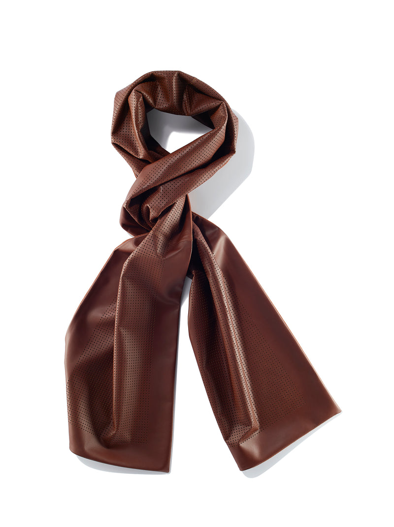 Nappa leather scarf with micro perforations & cashmere