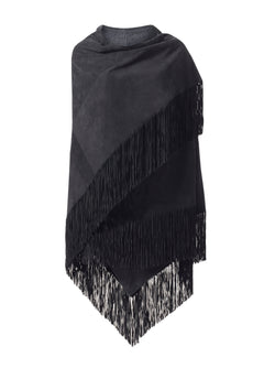 Suede Shawl with Deep Fringe and Cashmere Lining