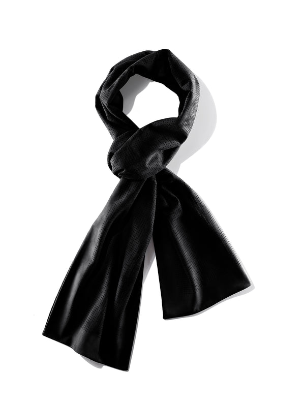 Suede scarf with micro perforations & cashmere