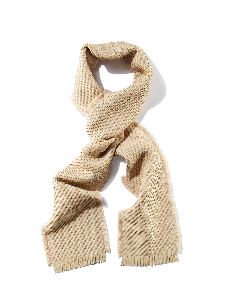 Woven Nappa Leather and Wool Scarf with Fringe