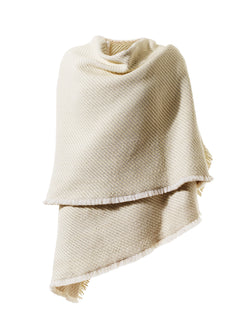 Woven Nappa Leather and Wool Shawl with Fringe