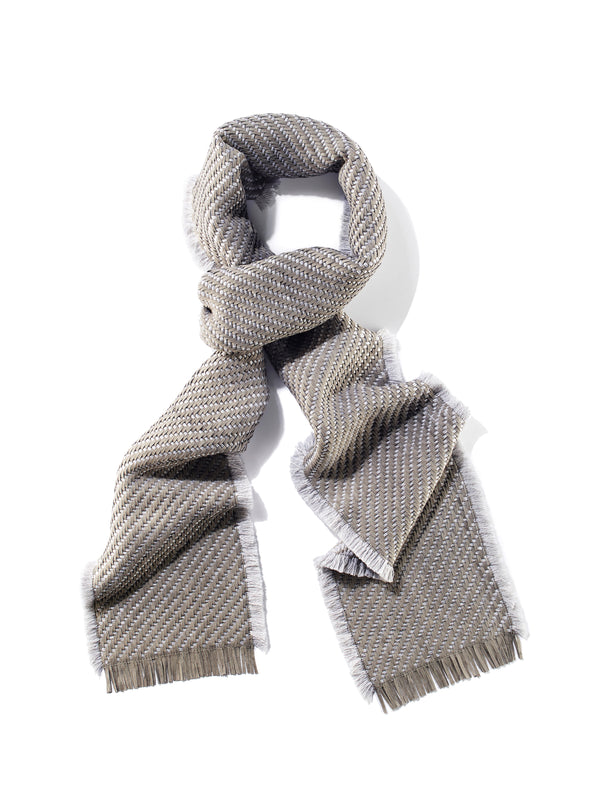 Woven Suede and Wool Scarf with Fringe