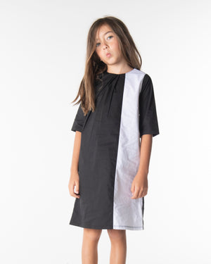 Three Bows Color Block Diagonal Dress