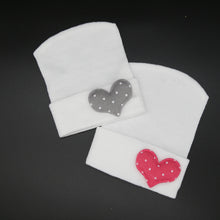 Load image into Gallery viewer, Polka Dotted Heart Hospital hats