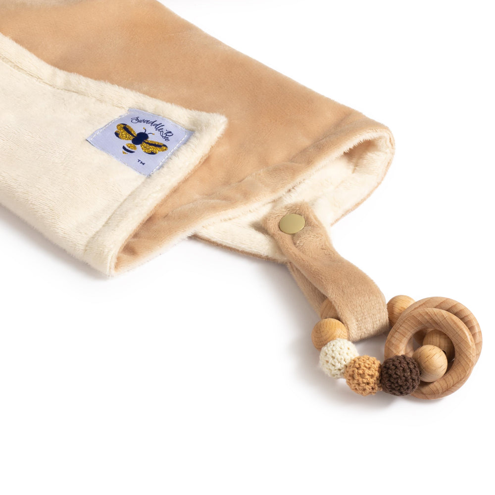 SwaddleBee Ivory/Camel LovieBee 2.0 Security Blanket