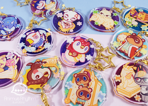 Animal Crossing New Horizon Zodiac Crystal Acrylic Keychain charm Double Sided 2in Celeste Tom Nook Raymond K K Slider Isabelle