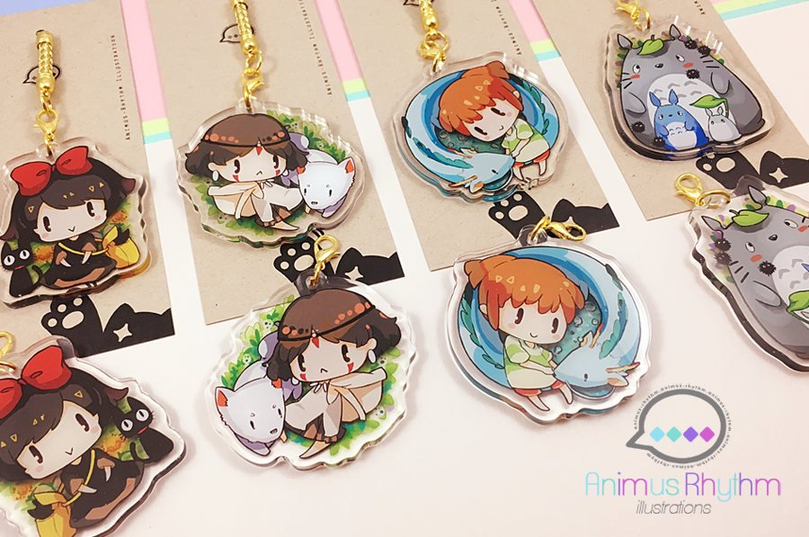 [FINAL SALE] Ghibli Double Sided Crystal Acrylic Charm Keychain
