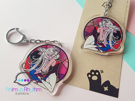 [FINAL SALE] Sailor Moon Black Lady Acrylic Keychain 2 inches double sided anime sailormoon