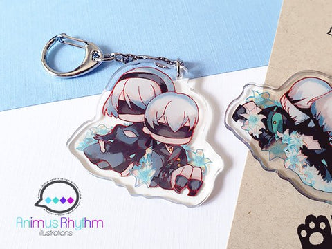 Nier 2B 9S YoRHa Acrylic Keychain 2 inches double sided game