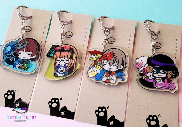 Persona 5 Crystal Acrylic Keychain charm Double Sided 2in