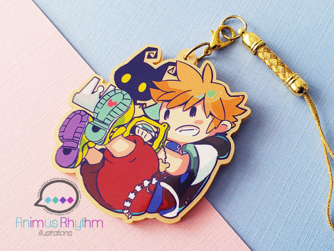 Golden Acrylic strap charm: Kingdom Hearts Sora Heartless Keyblade 2in game anime