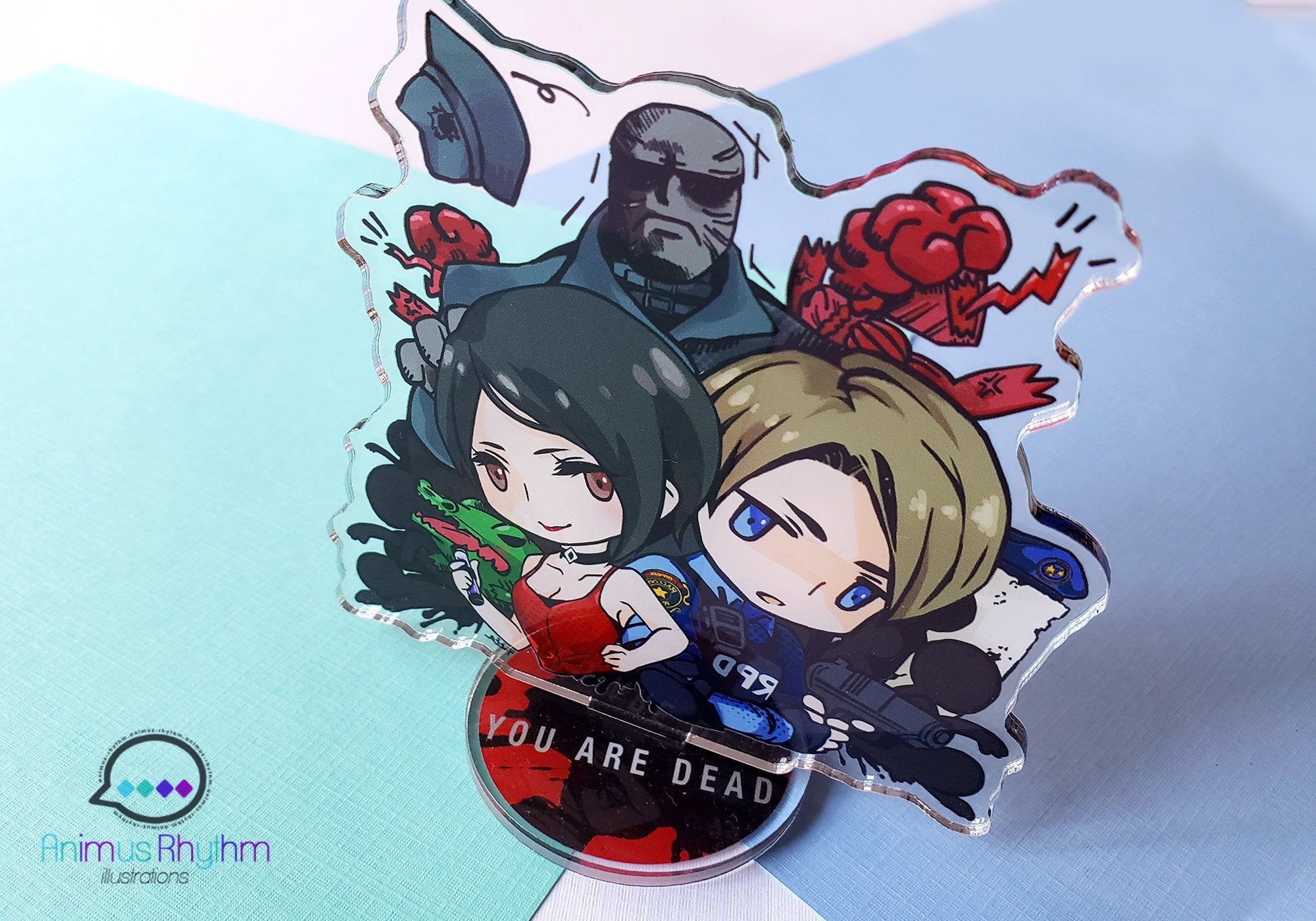 "Resident Evil 2 Remake Double Sided Acrylic Standee 4"" Leon Ada Claire Mr. X Tofu Zombie game"