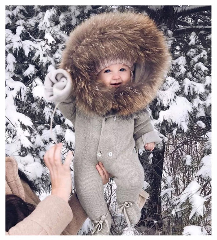 Willow Fur Collar Kintted Jumpsuit
