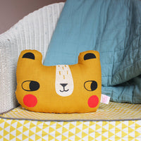 Linen Bear Cushion Mustard
