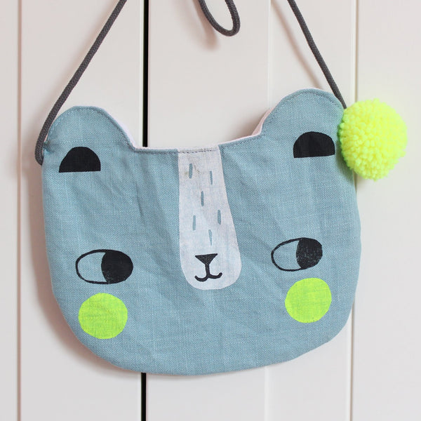 Linen Bear Bag Blue