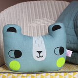 Linen Bear Cushion Blue
