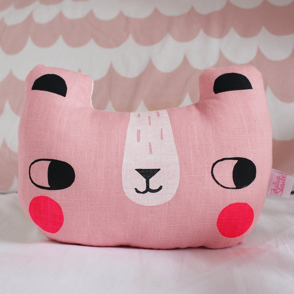 Linen Bear Cushion Pink