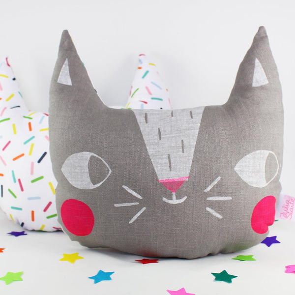 Confetti Cats Cushion - Grey