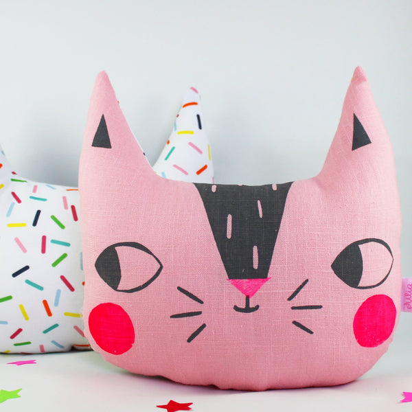Confetti Cats Cushion - Pink