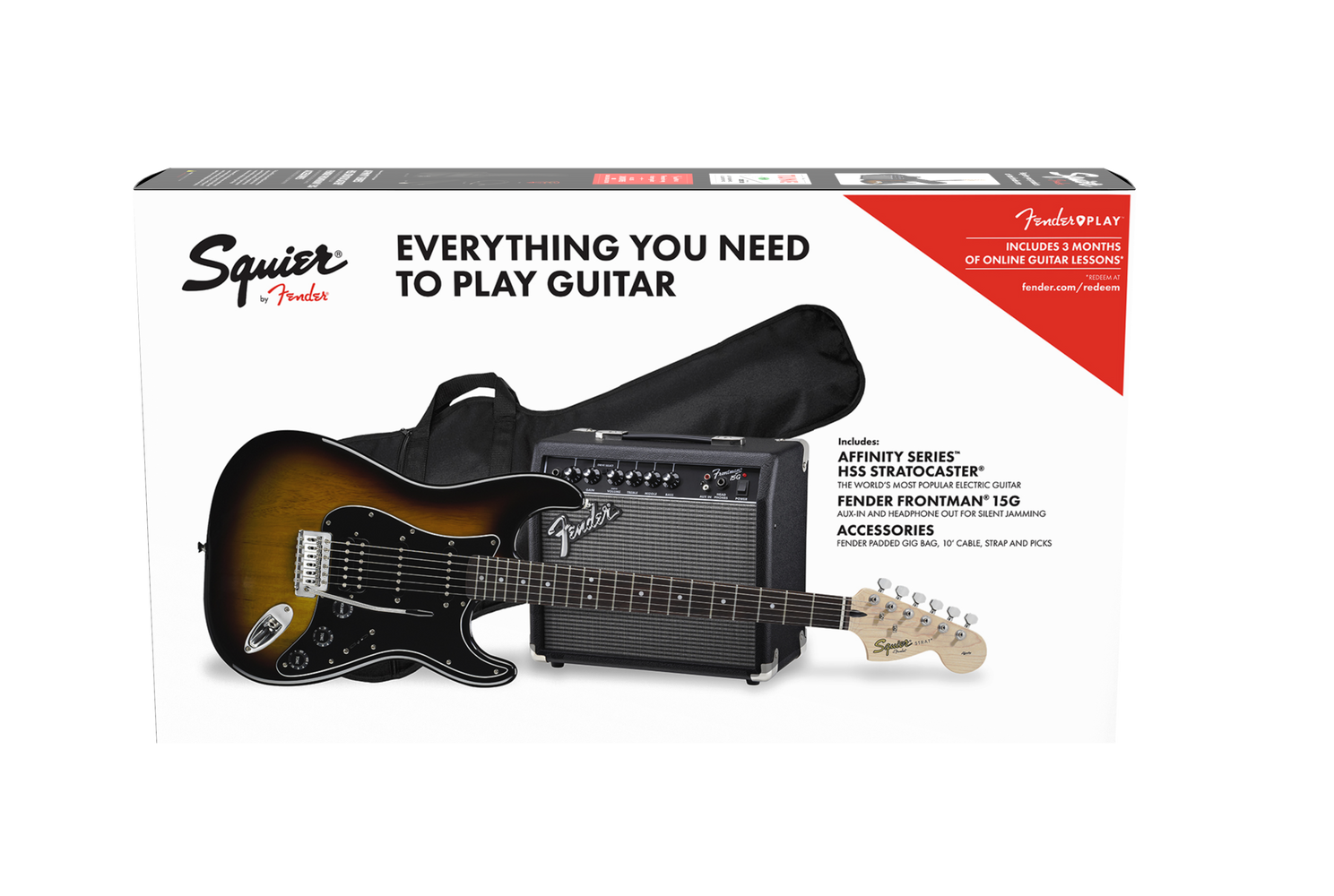 Fender Squier Affinity Series™ Stratocaster® HSS Pack, Laurel Fingerboard, Brown Sunburst, Gig Bag, 15G - 230V UK - Set-up by Mayalls