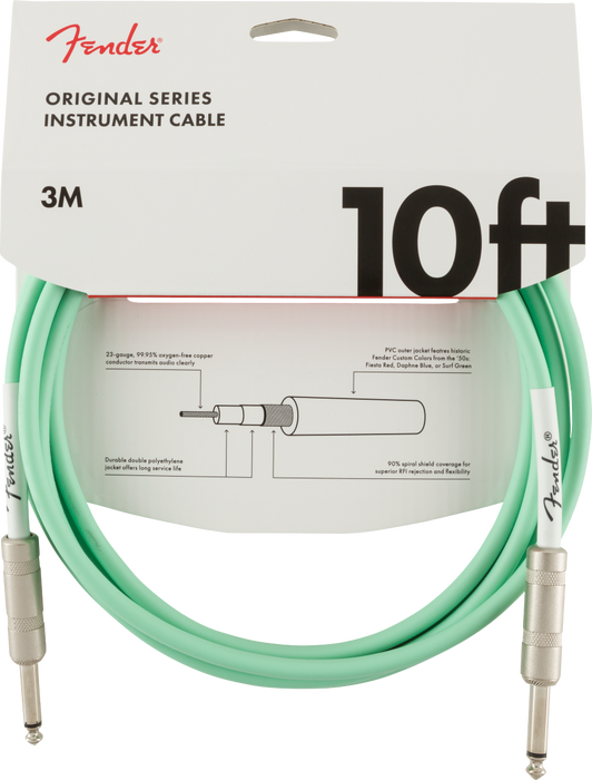 Fender Original Series Instrument Cable, 10', Surf Green