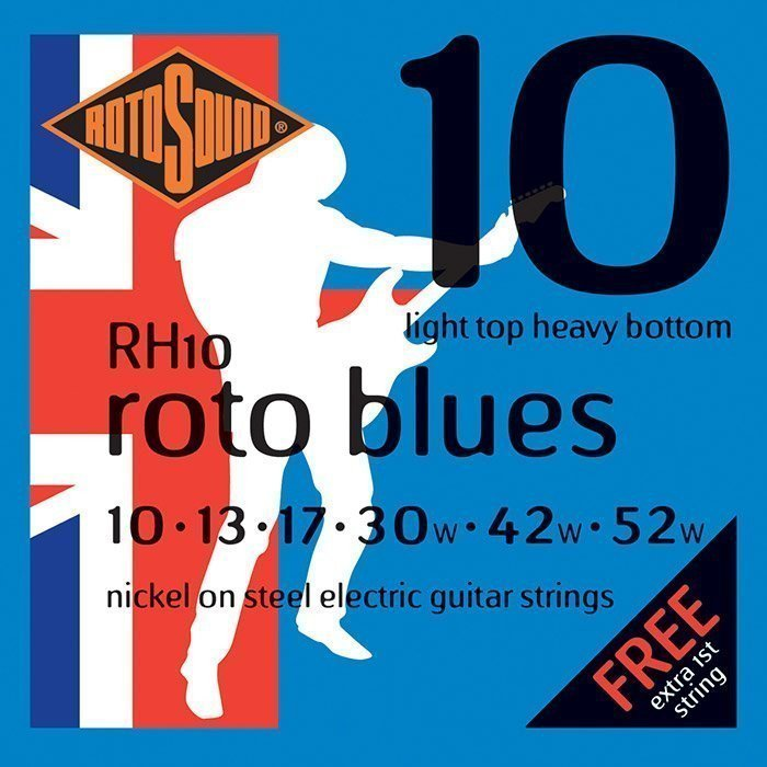 Rotosound RH10 Roto Blues Nickel Electric Guitar Strings, 10-52