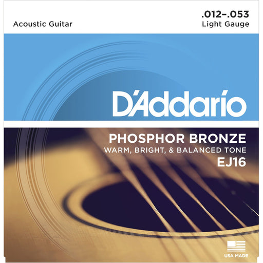 D'Addario EJ26 Acoustic Guitar Strings Phosphor Bronze 11-52 Custom Light Set