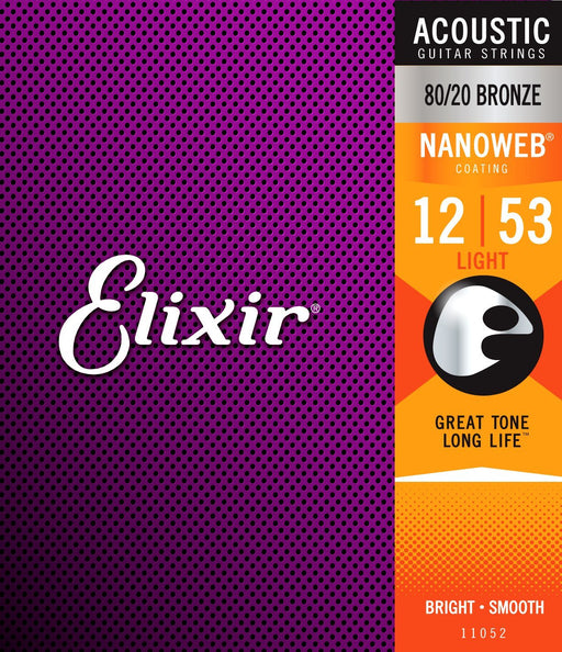 Elixir Nanoweb 80/20 Bronze Acoustic Guitar Strings 12-53 Light Gauge