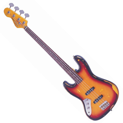 Vintage V74 ICON Fretless Bass ~ Sunset Sunburst Left Hand
