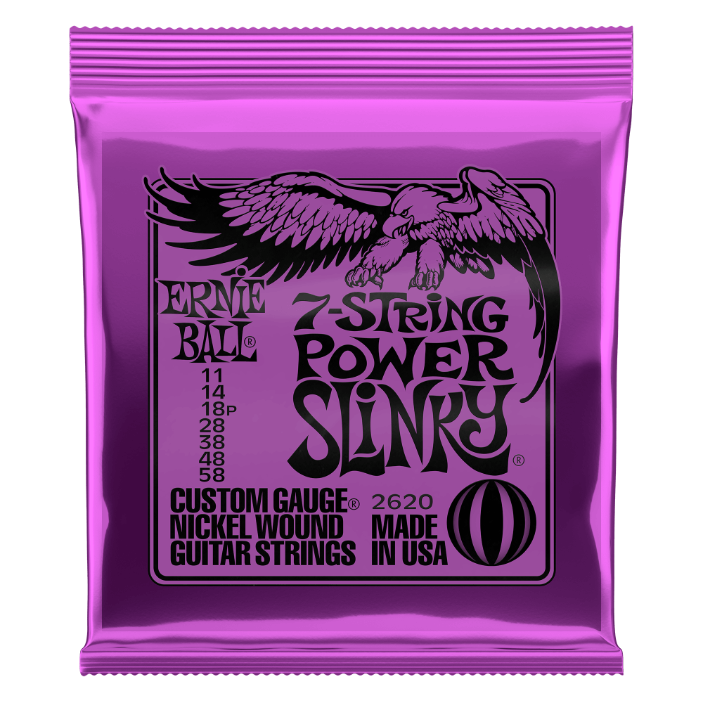 POWER SLINKY 7-STRING NICKEL WOUND ELECTRIC GUITAR STRINGS - 11-58 GAUGE