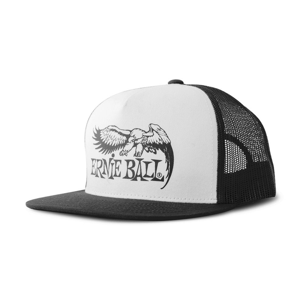 ERNIE BALL BLACK WITH WHITE FRONT AND BLACK ERNIE BALL EAGLE LOGO HAT