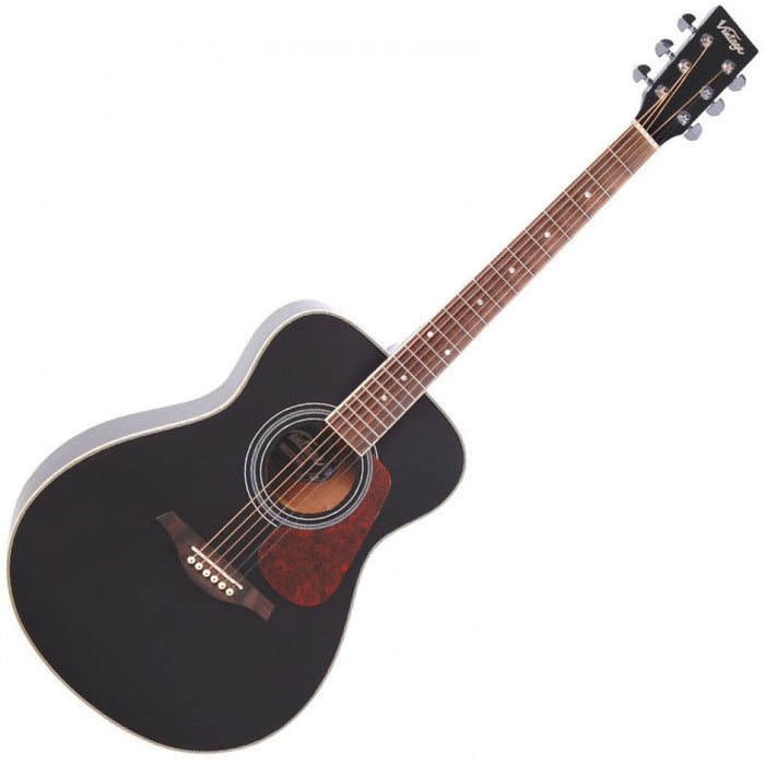 Vintage Acoustic Guitar V300 *Pro Setup by us! Black - Our Best Seller!