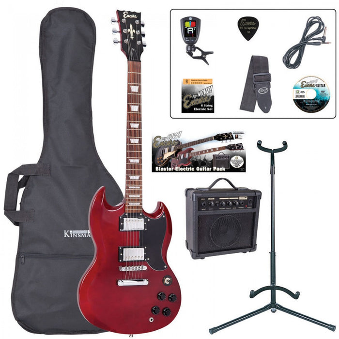 Encore E69 Electric Starter Guitar Pack - Cherry Red