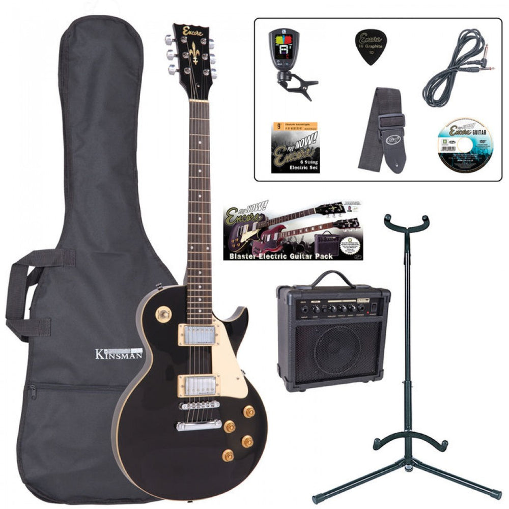 Encore E99 Electric Starter Guitar Pack - Gloss Black