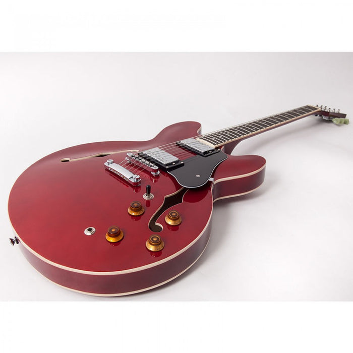 Vintage VSA500 Reissued Semi Acoustic Guitar in Cherry Red