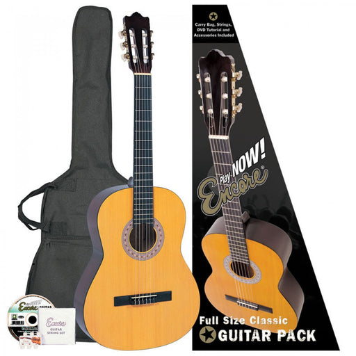 Encore 4/4 Classical Nylon Starter Acoustic Guitar Pack - Natural