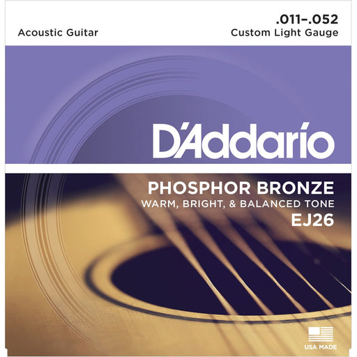 D'Addario Acoustic Guitar Strings EJ26 Phosphor Bronze 11-52 Custom Light Set