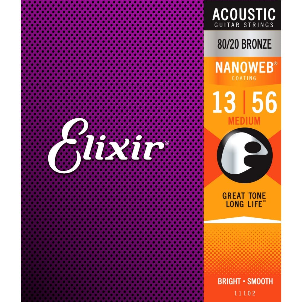 Elixir Nanoweb 80/20 Bronze Acoustic Guitar Strings 13-56 Medium Gauge
