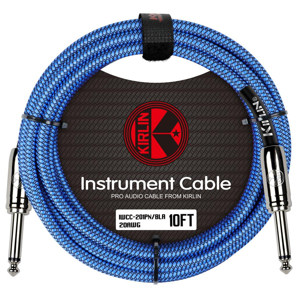 "Kirlin 10ft Fabric Cable 1/4"" Mono Plug Straight to Straight - Blue"