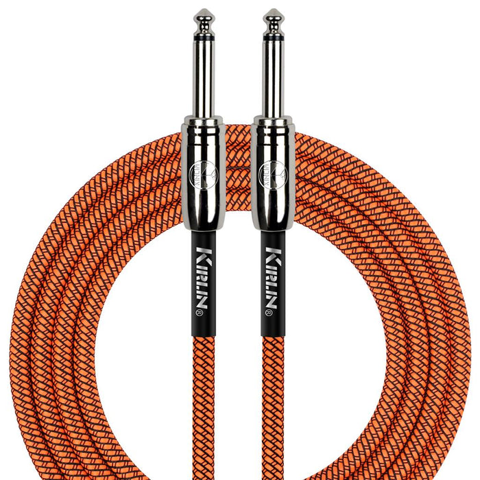 "Kirlin 10ft Fabric Cable 1/4"" Mono Plug Straight to Straight - Orange"