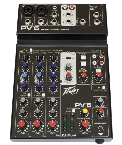 Peavey Mixer PV 6 with USB For Live & Studio