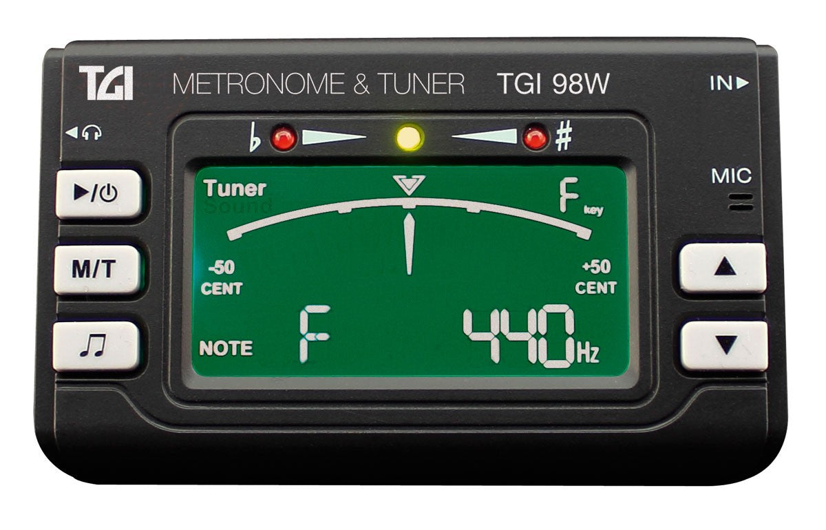 TGI TUNER GUITAR, WOODWIND & BRASS TUNER AND METRONOME WITH CLIP ON MIC.