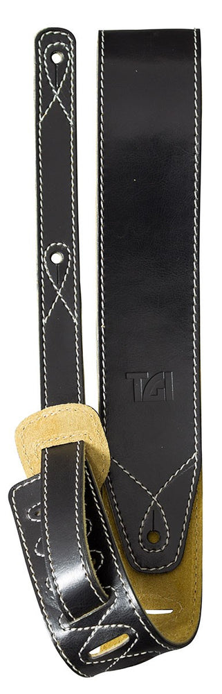 TGI Guitar Strap Black Leather With Suede Back