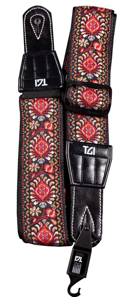 TGI Guitar Strap Woven Cotton Persian Stitch - Red