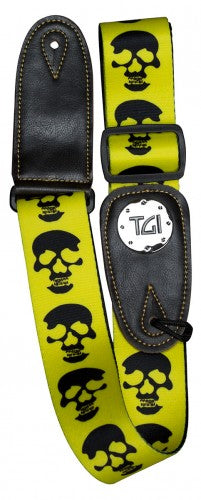 Yellow & Black Skull Guitar Strap - TGI