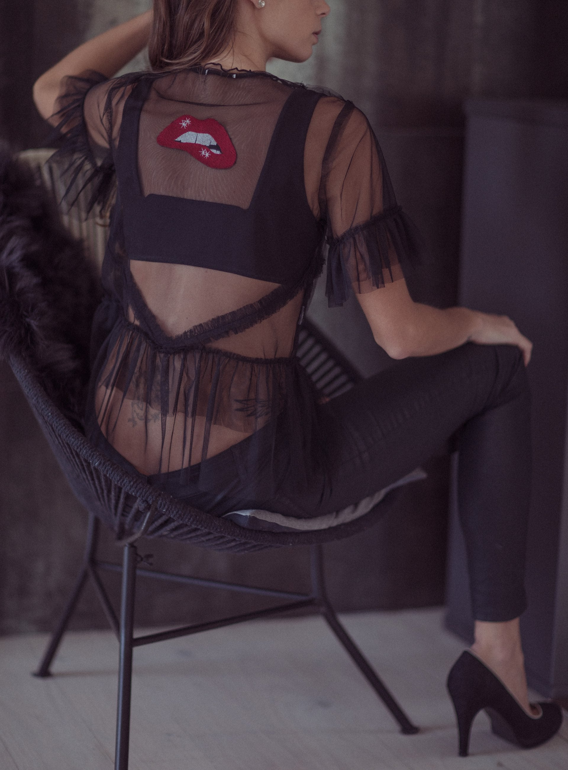 Lalita - Lingerie Accessory with Embroided Lips