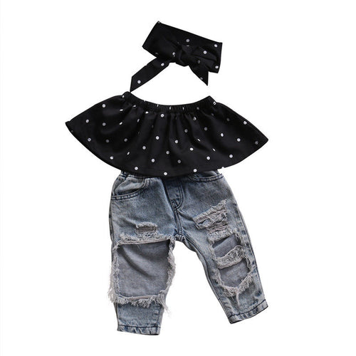 3PCS Set Off Shoulder Polka Dot Tank Tops+Hole Jean Denim Pant Headband