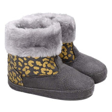 Load image into Gallery viewer, Silver Leopard Booties