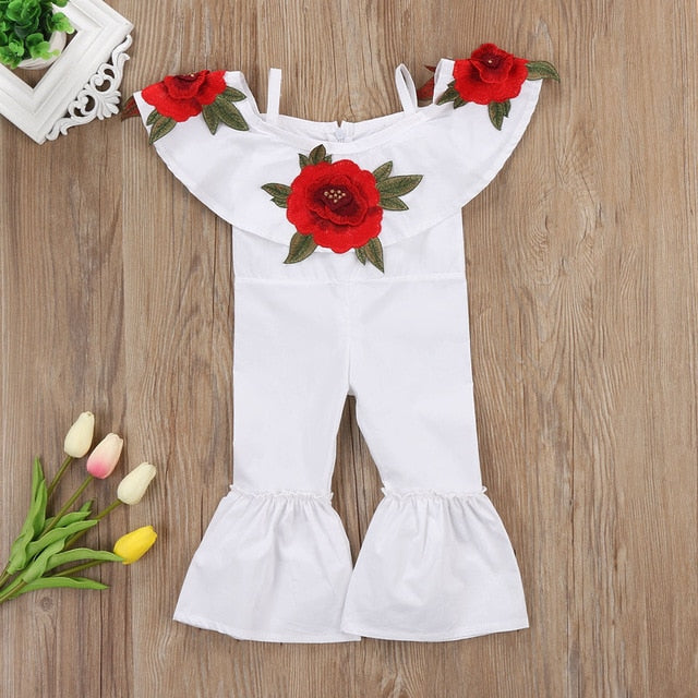Toddler Rose White Girls Romper