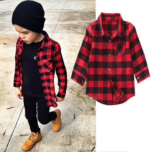 Kids Long Sleeve Shirt Plaids